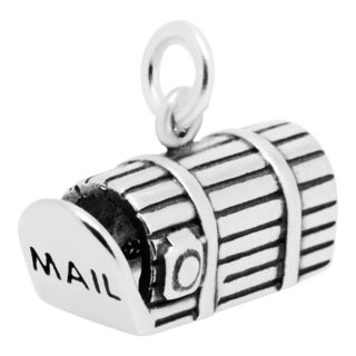 Sterling Silver Antiqued 3D Mailbox Charm Pendant (10 x 16.5 mm)