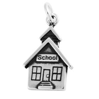 Sterling Silver School House Charm Pendant (18 x 11.5 mm)