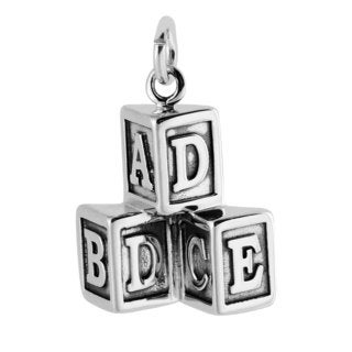 Sterling Silver Antiqued 3D Block Letter Charm Pendant (15 x 18.5 mm)