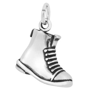 Sterling Silver Antiqued 3D Military Duty Boot Charm Pendant (12 x 15 mm)