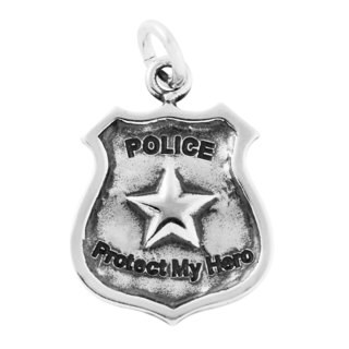 Sterling Silver Antiqued Protect My Hero Police Shield Charm Pendant (18 x 13 mm)