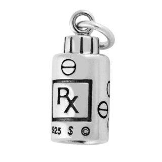Sterling Silver 3D Prescription Medicine Bottle Charm Pendant (7 x 15.5 mm)