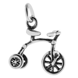 Sterling Silver Antiqued 3D Tricycle Charm Pendant (12.5 x 12.5 mm)