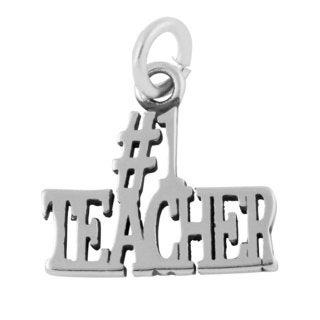 Sterling Silver # 1 Teacher Charm Pendant (13 x 13.5 mm)