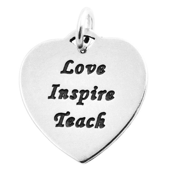 Sterling Silver Love Inspire Teach Heart-Shaped Charm Pendant (15.5 x 15 mm)