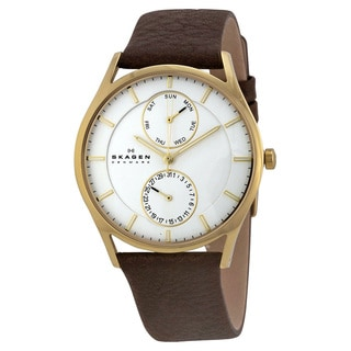 Skagen Men's Holst White Chronograph Dial Watch With Brown Leather Strap