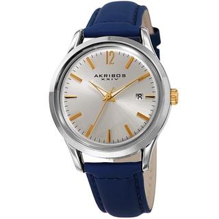 Akribos XXIV Women's Quartz Sunray Blue Leather Strap Watch
