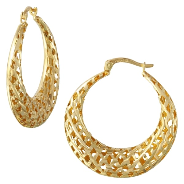 14k Yellow Gold Geometric Cut-out Hoop Earrings