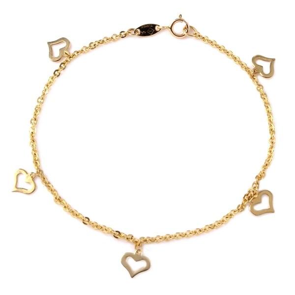 14k Yellow Gold Flat Heart Charms Rolo Charm Bracelet