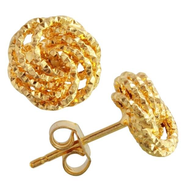 14k Yellow Gold Diamond-cut 'Love Knot' Italian Stud Earrings 18817829