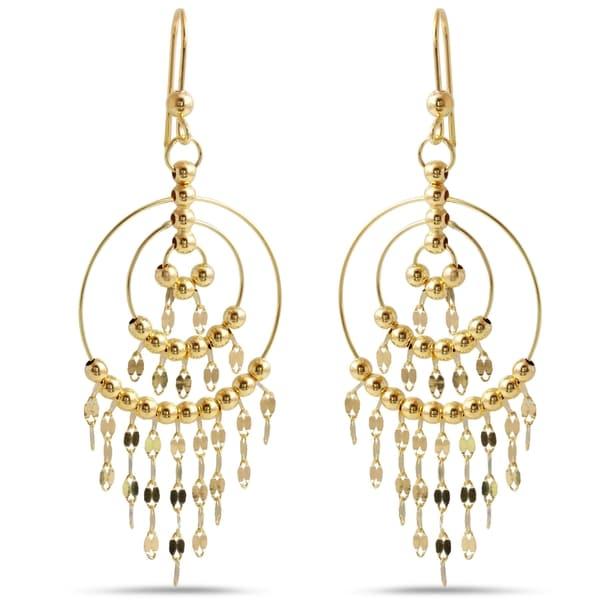 14k Yellow Gold Italian Chandelier Dangle Earrings 18817834