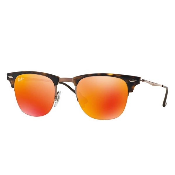 Ray-Ban RB8056 175/6Q Clubmaster Light Ray Tortoise/Brown Red Mirror 49mm Lens Sunglasses