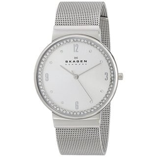 Skagen Women's Ancher Silver Analog Dial Stainless Steel Mesh Bracelet Watch