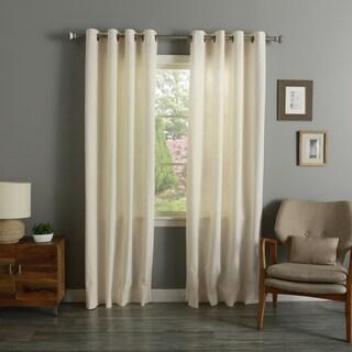 Aurora Home Off-white Linen/Cotton Grommet-top Curtain Panel Pair