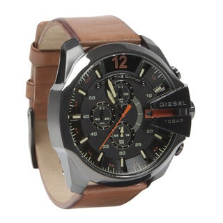 Diesel Men's Mega Chief Brown Leather Strap Watch