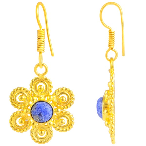 Orchid Jewelry Gold Plated 2 1/9ct. Round Cab Lapis Lazuli Flower Earrings