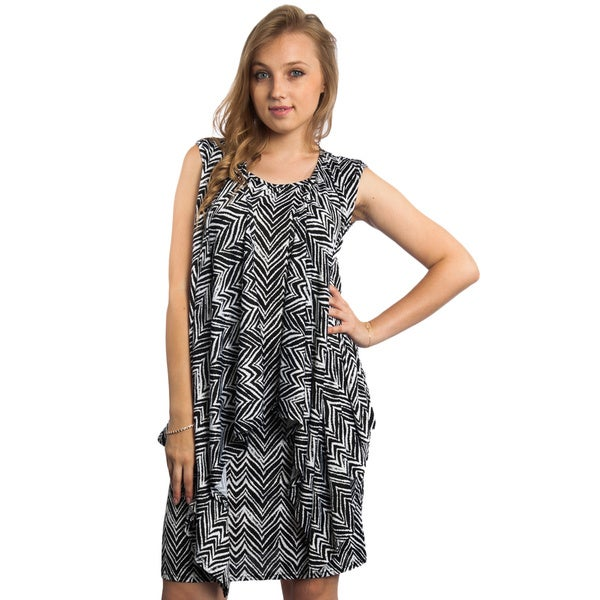 Women's Printed Sleeveless Shift Dress