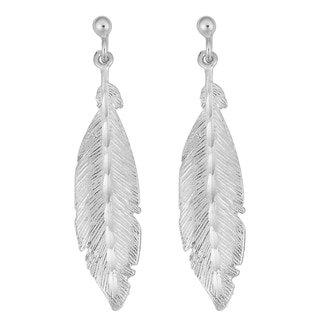 Argento Italia Rhodium Plated Sterling Silver Stylish Feather Drop Earrings