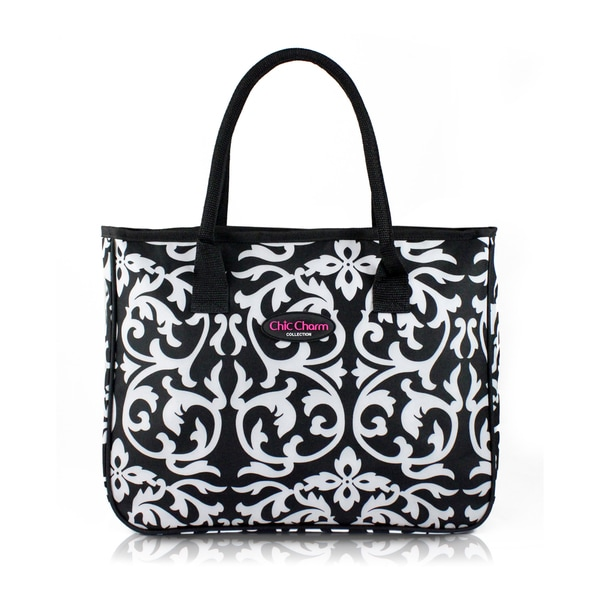 Jacki Design Chic Charm White/Black Damask Tote Bag