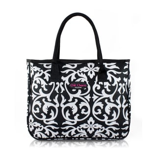 Jacki Design Chic Charm White/Black Damask Tote Bag