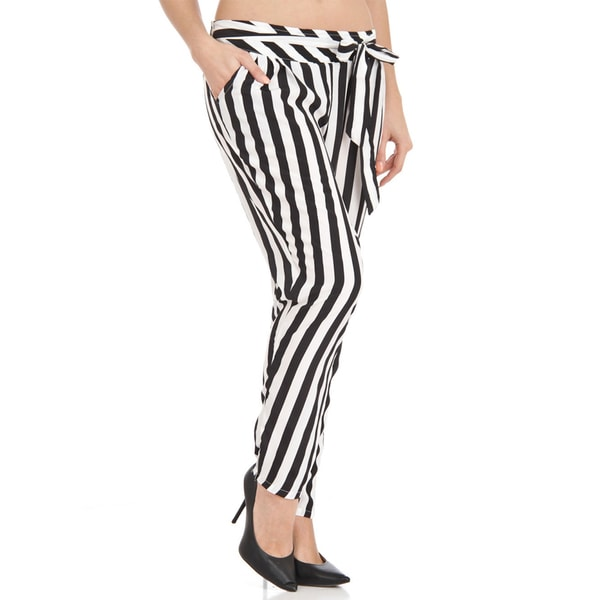 Women's Black and White Striped Pants 18818865
