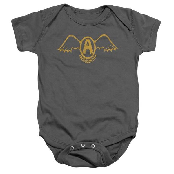 Aerosmith/Retro Logo Infant Snapsuit in Charcoal