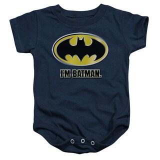 Batman/I'M Batman Infant Snapsuit in Navy
