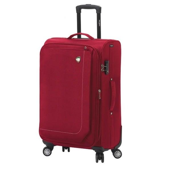 Mia Toro ITALY Madesimo Blue/Red/Black/Khaki Polyester 24-inch Expandable Spinner Upright Suitcase