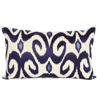 Wanderloot 14 x 22-inch Hand Embroidered Gujarat Ikat Cotton Accent Throw Pillow Cover (India)