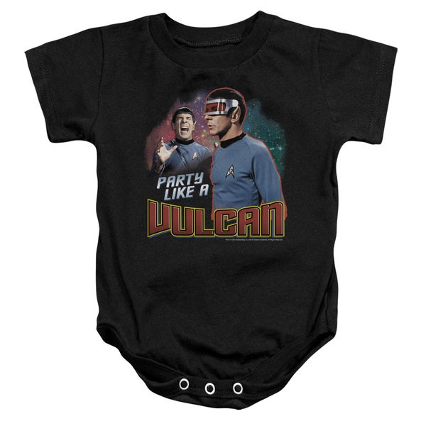 Star Trek/Party Like A Vulcan Infant Snapsuit in Black