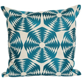 Wanderloot 20-inch Hand Embroidered Goa Cotton Geometric Accent Throw Pillow Cover