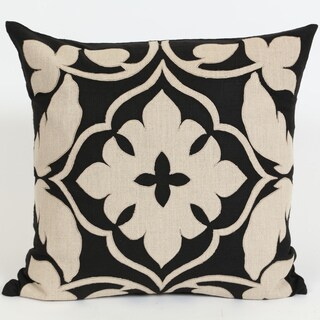 Wanderloot 20-inch Hand Embroidered Agra Linen Applique Accent Throw Pillow Cover