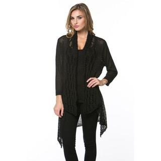 High Secret Women's White/Black Lightweight Knit Solid Cardigan