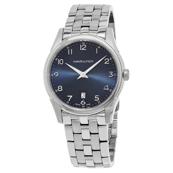 Hamilton Men's H38511143 'Jazzmaster' Blue Dial Stainless Steel Thin line Swiss Quartz Watch