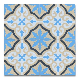 "Argana Blue &Yellow Handmade Cement And Granite Moroccan Tile (Pack Of 12) (8"" x 8"")"