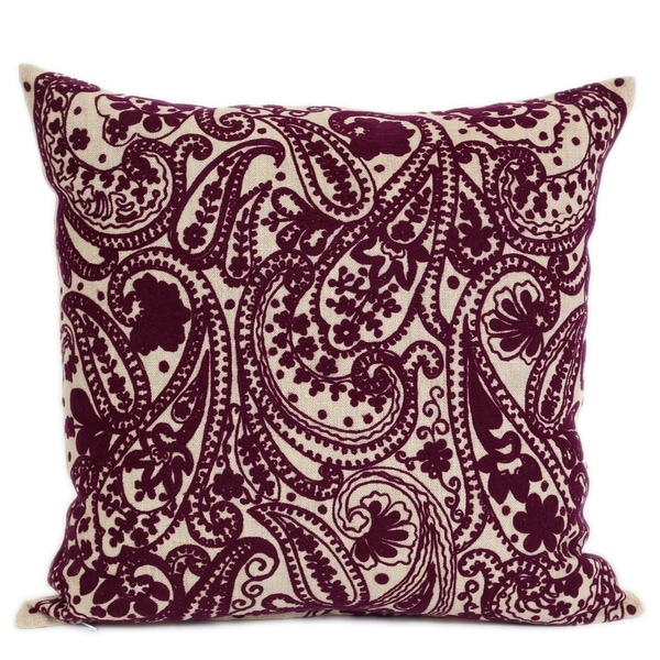 Wanderloot 20-inch Hand Embroidered Kashmir Linen Accent Throw Pillow Cover (India)