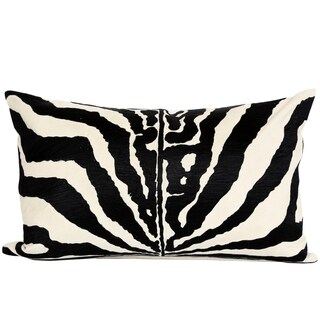 Wanderloot 14 x 22-inch Hand Embroidered Zebra Cotton Accent Throw Pillow Cover (India)