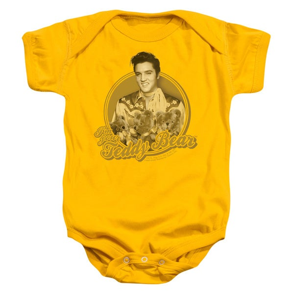Elvis/Teddy Bear Infant Snapsuit in Gold