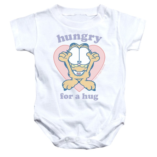 Garfield/Hungry For A Hug Infant Snapsuit in White