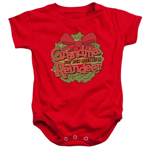 Grandma Got Run Over By A Reindeer/Grandma Logo Infant Snapsuit in Red