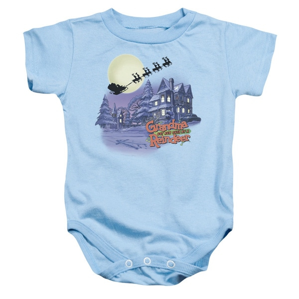 Grandma Got Run Over By A Reindeer/Face in The Snow Infant Snapsuit in Light Blue