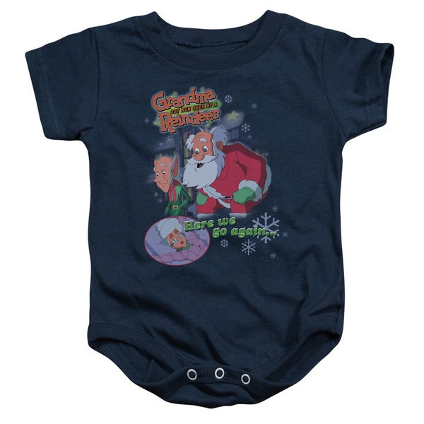 Grandma Got Run Over By A Reindeer/Here We Go Again Infant Snapsuit in Navy