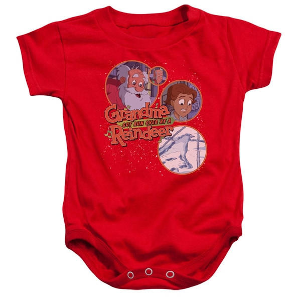 Grandma Got Run Over By A Reindeer/Santa and Family Infant Snapsuit in Red