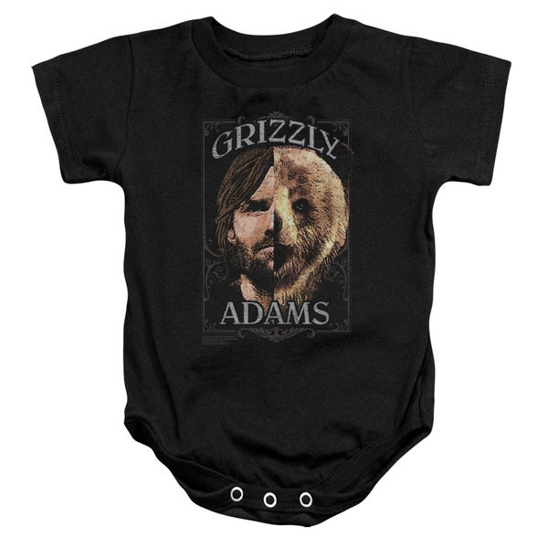 Grizzly Adams/Half Bear Infant Snapsuit in Black