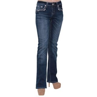 Sexy Couture Women's Blue Cotton-blended Bootcut Jeans