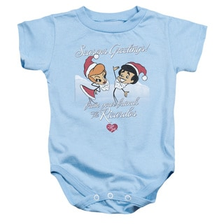Lucy/Animated Christmas Infant Snapsuit in Light Blue