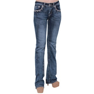Sexy Couture S201-PB Women Rhinestone Embroidery Flap Rear Pocket Bootcut Jeans