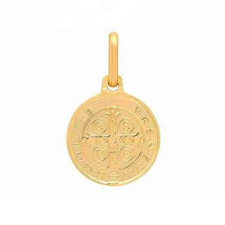 Sterling Essentials Italian 14K Gold 12 mm San Benito Medal Pendant