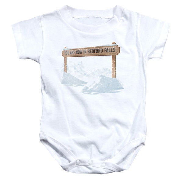 Its A Wonderful Life/Bedford Falls Infant Snapsuit in White