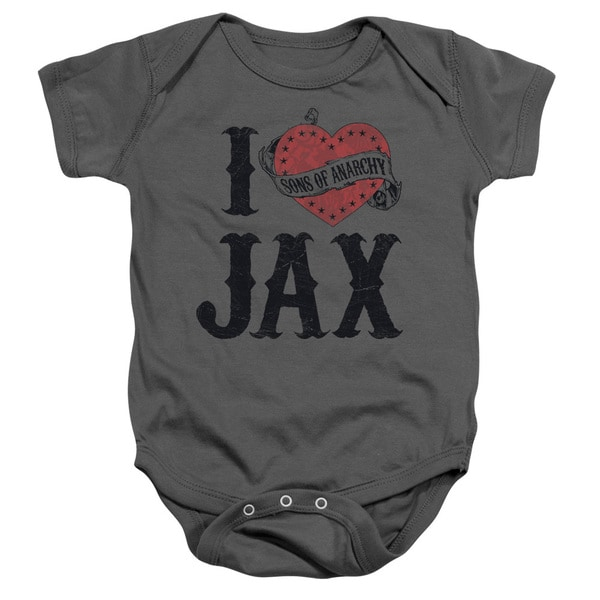 Sons Of Anarchy/I Heart Jax Infant Snapsuit in Charcoal